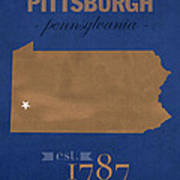 University Of Pittsburgh Pennsylvania Panthers College Town State Map Poster Series No 089 Poster
