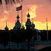 University Of Tampa Minerets At Sunset Poster