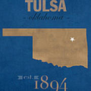 University Of Tulsa Oklahoma Golden Hurricane College Town State Map Poster Series No 115 Poster