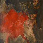 Untitled Abstract - Umber With Scarlet Poster