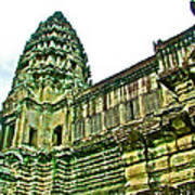 Upper Level Tower In Angkor Wat In Angkor Wat Archeological Park Near Siem Reap-cambodia Poster