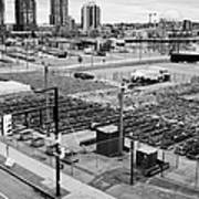 urban farm on unused lot at concord pacific place at false creek Vancouver BC Canada Poster