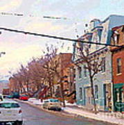 Urban Winter Landscape Colors Of Quebec Cold Day Pointe St Charles Street Scene Montreal  Poster