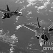 U.s. Air Force F-22 Raptors In Flight Near Guam. Poster