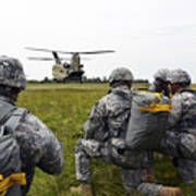 U.s. Army Paratroopers Prepare To Board Poster