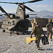U.s. Army Sergeant Helps Unload Band Poster