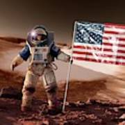 Us Astronaut On Mars Poster