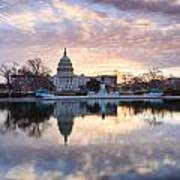 Washington Dc Us Capitol Building At Sunrise Poster