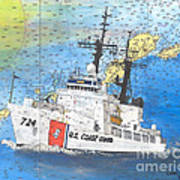 Us Coast Guard Cutter Munro Nautical Chart Cape San Blas Lighthouse Fl Nautical Chart Cathy Peek Poster