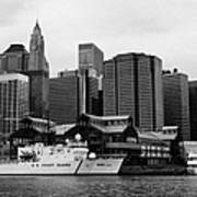 Us Coastguard Cutter Vessel Ship Berthed In Lower Manhattan New York City Poster