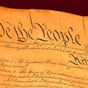 Us Constitution Closeup Red Brown Background Poster by L Brown