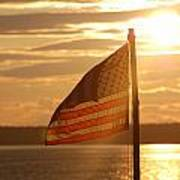 Us Flag At Sunset Poster