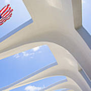 U.s.  Flag At The Uss Arizona Memorial Poster