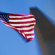 Us Flag At Washington Monument At Dusk Poster