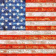 Us Flag With States Poster