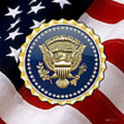 Presidential Service Badge - P S B Over American Flag Poster