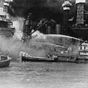 U.s. Sailors In Fireboats At The Side Poster