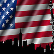 Usa American Flag With Statue Of Liberty Skyline Silhouette Poster