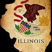 Usa American Illinois State Map Outline With Grunge Effect Flag Poster