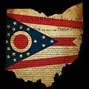 Usa American Ohio State Map Outline With Grunge Effect Flag Inse Poster