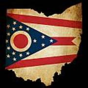 Usa American Ohio State Map Outline With Grunge Effect Flag Poster