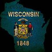 Usa American Wisconsin State Map Outline With Grunge Effect Flag Poster
