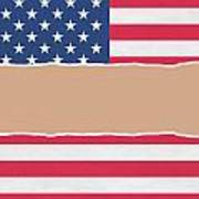 Usa Wrapping Paper Torn Through The Centre Poster