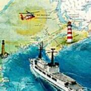 Uscg Chase Helicopter Chart Map Art Peek Poster
