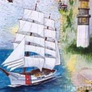 Uscg Tall Ship Eagle Chart Art Peek Poster
