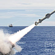Uss Cowpens Launches A Harpoon Missile Poster
