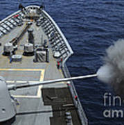 Uss Philippine Sea Fires Its Mk 45 Poster by Stocktrek Images