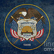 Utah State Flag Vintage Version Poster