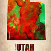 Utah Watercolor Map Poster by Naxart Studio