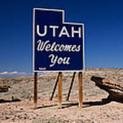 Utah Welcomes You State Sign Poster