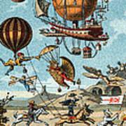 Utopian Flying Machines 19th Century Poster