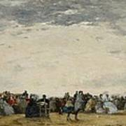 Vacationers On The Beach At Trouville Poster by Eugene Louis Boudin