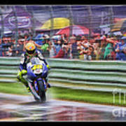 Valentino Rossi Fans Line The Fence Poster