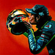 Valentino Rossi Portrait Poster by Paul Meijering