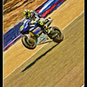 Valentino Rossi Wheely Down The Corkscrew Poster