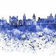 Valletta Skyline In Blue Watercolor On White Background Poster