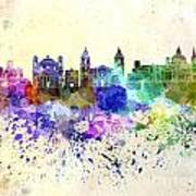 Valletta Skyline In Watercolor Background Poster