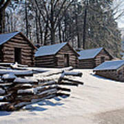 Valley Forge Cabins After A Snow Poster