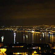 Valparaiso Harbor At Night Poster