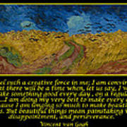 Van Gogh Motivational Quotes - Wheatfield With Crows Poster