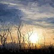 Van Gogh Style Digital Painting Stark Bush Silhouette Against Stunning Sunset Sky Poster