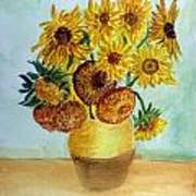 van Gogh Sunflowers in watercolor Poster