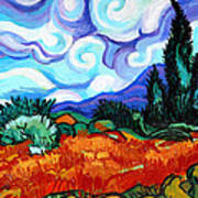 Van Goghs Wheat Field With Cypress Poster