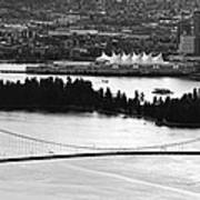 Vancouver Bc City Skyline And Lions Gate Bridge Poster