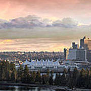 Vancouver Bc City Skyline And Stanley Park Poster