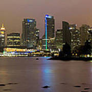 Vancouver Bc City Skyline At Night Poster
